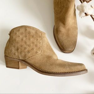 Zara Basic Beige Suede Ankle Booties Size 11